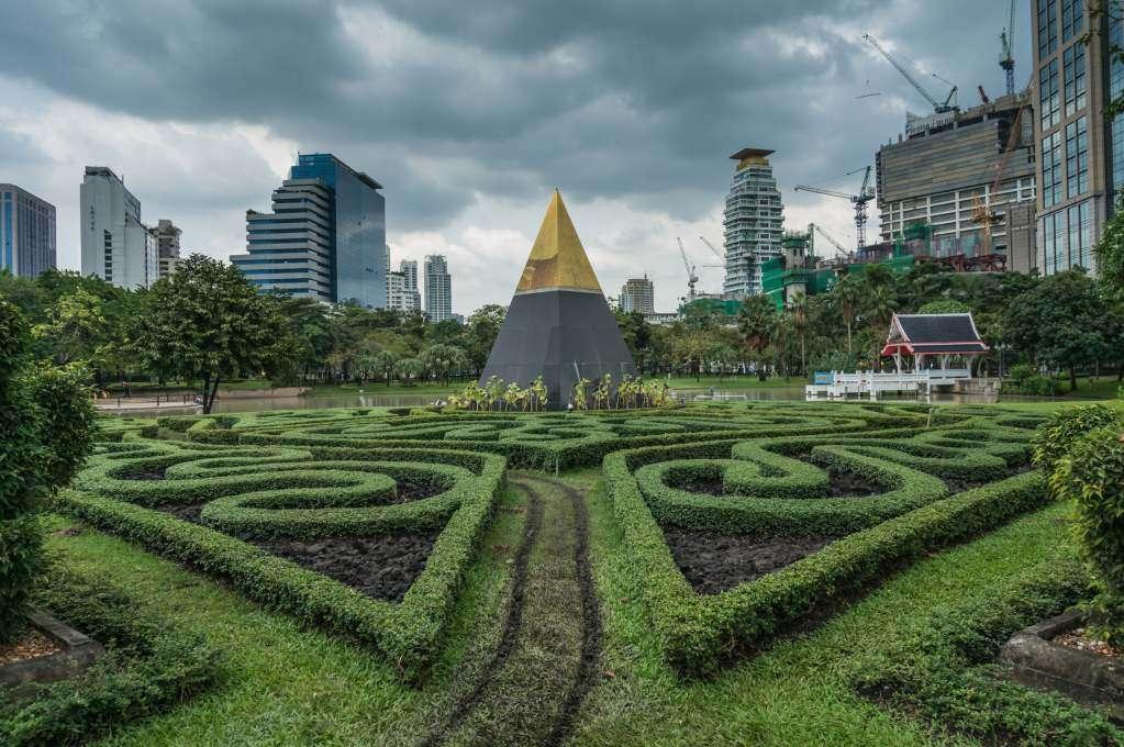 A pyramid sculpture at the Benjasiri Park in Bangkok