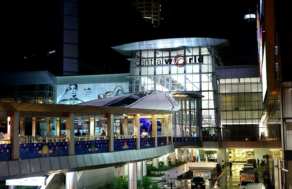 The entrance of Central World is connected with a sky walk that leads to a BTS Sky Train station