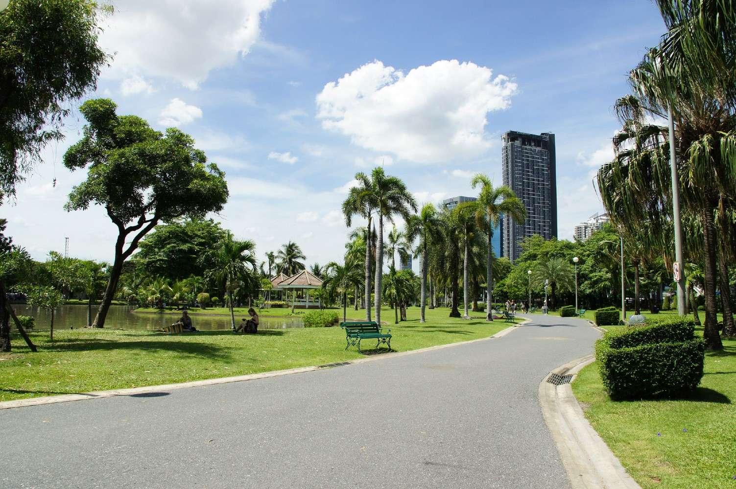Walking path at Chatuchak Park in Bangkok