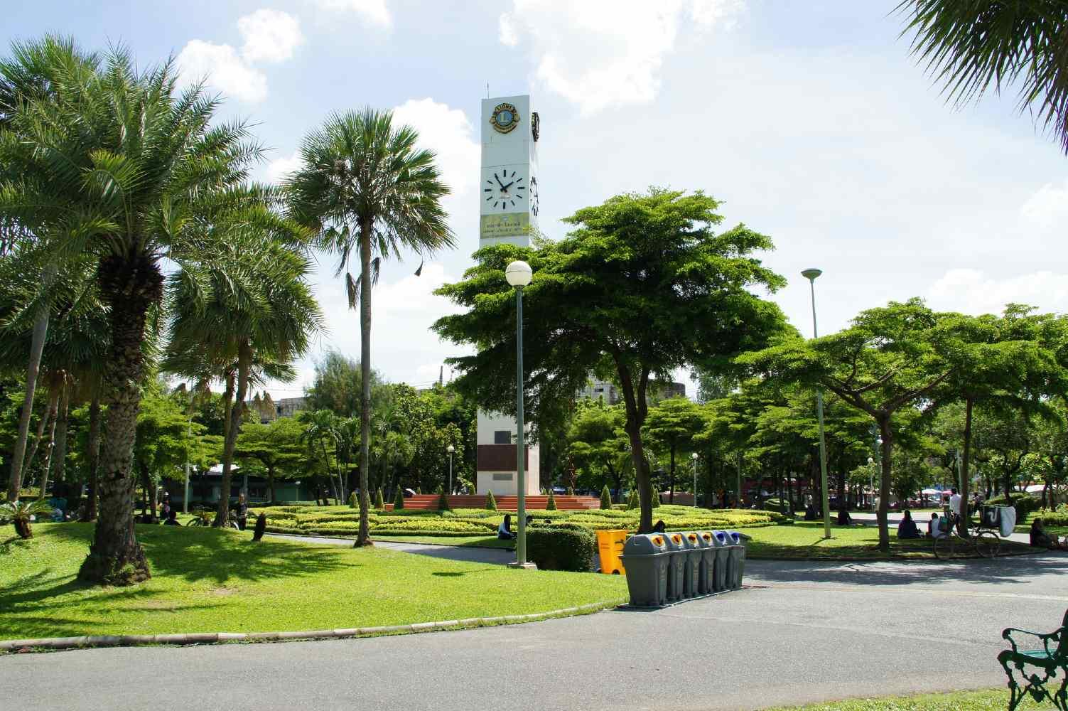 The clock tower at Chatuchak Park in Bangkok