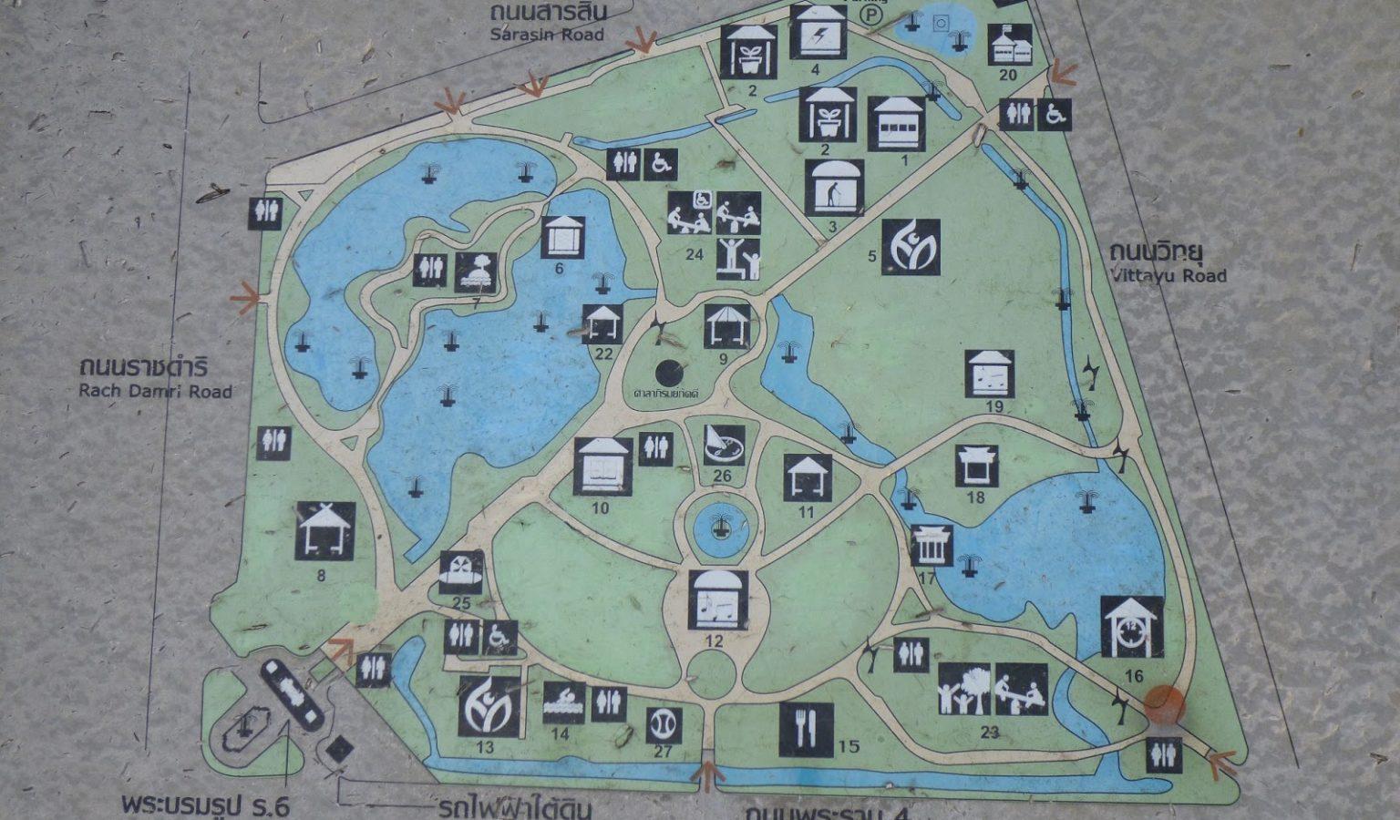 Map van Lumphini Park in Bangkok, Thailand