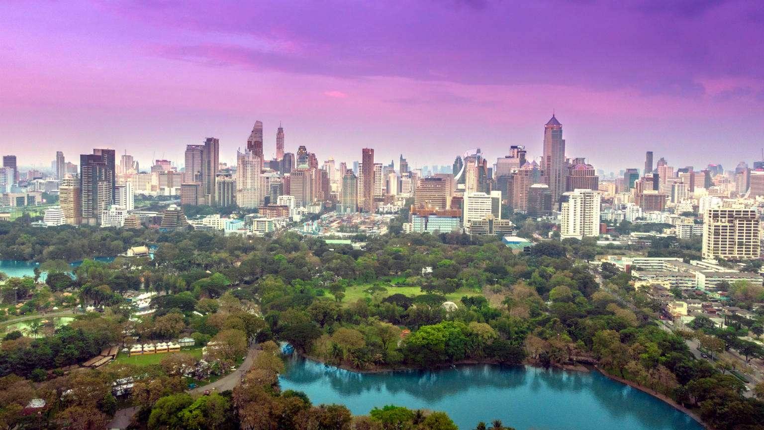 Het Lumphini Park van bovenaf in Bangkok, Thailand