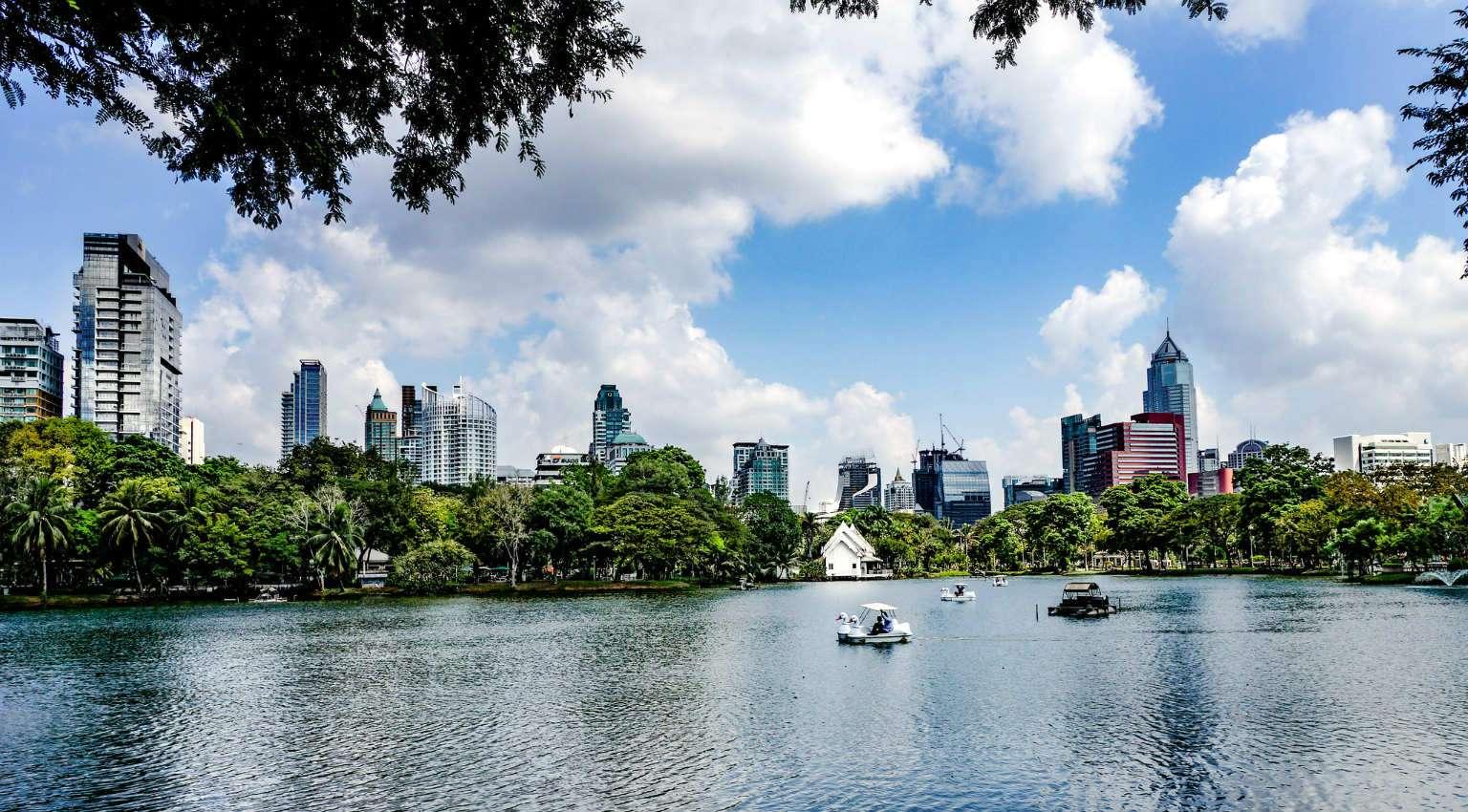 Het meer met zwanenboot in Lumphini Park in Bangkok, Thailand