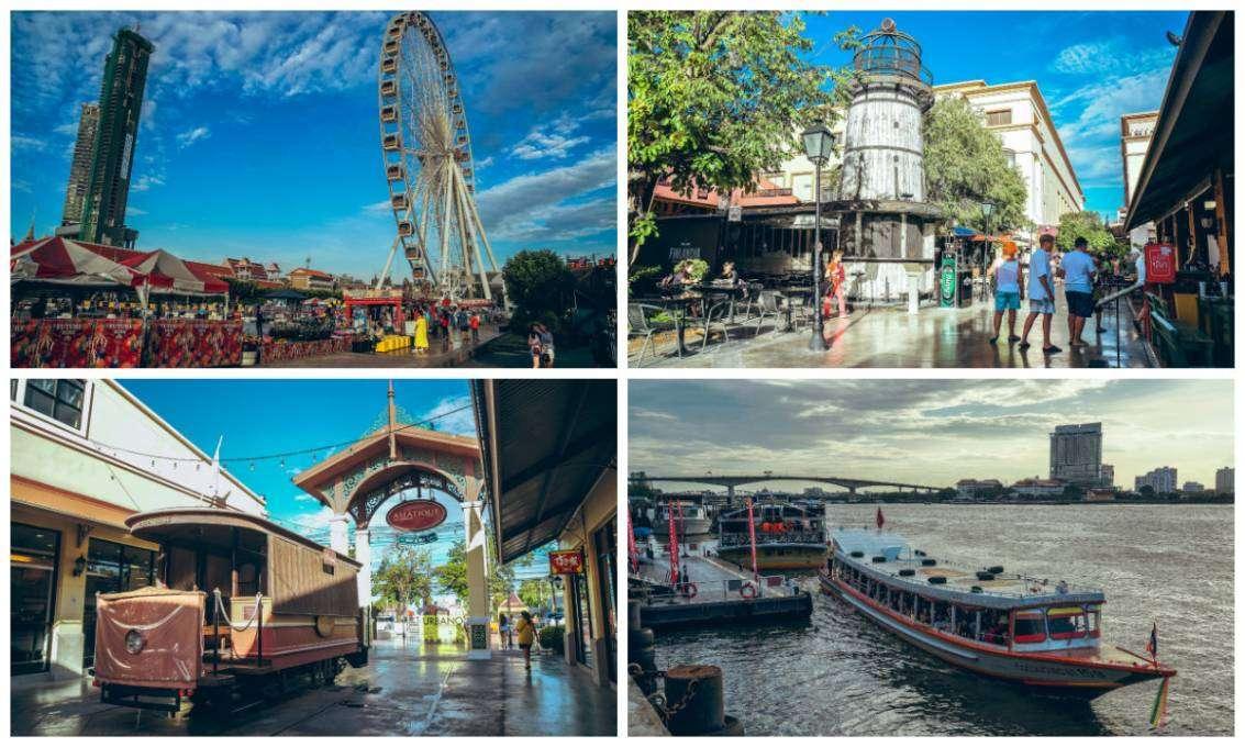 Collage van fotos van ASIATIQUE The Riverfront. Het reuzenrad, het plein midden om het terrein met een soort van vuurtoren, een treincabine en de chao phraya rivier met de veerboot die mensen heen en weer brengt