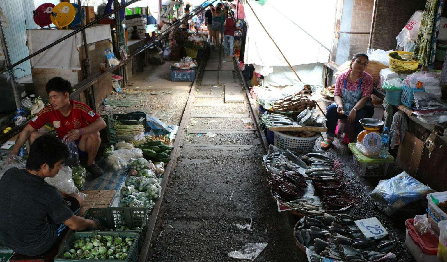 Maeklong Railway Mart in Thailand