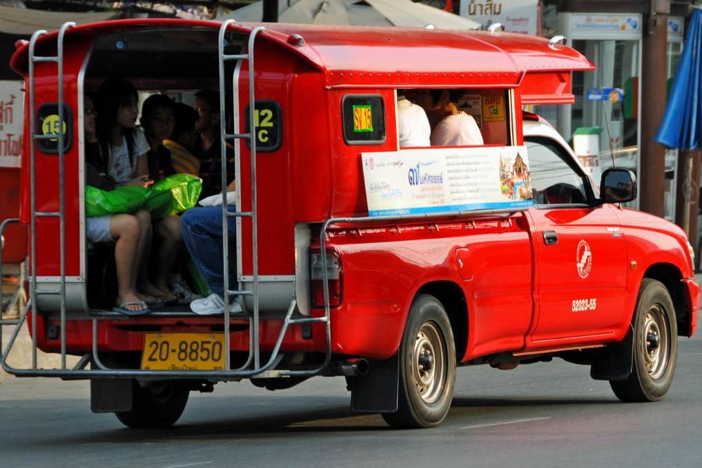 A red songthaew in Chiang Mai