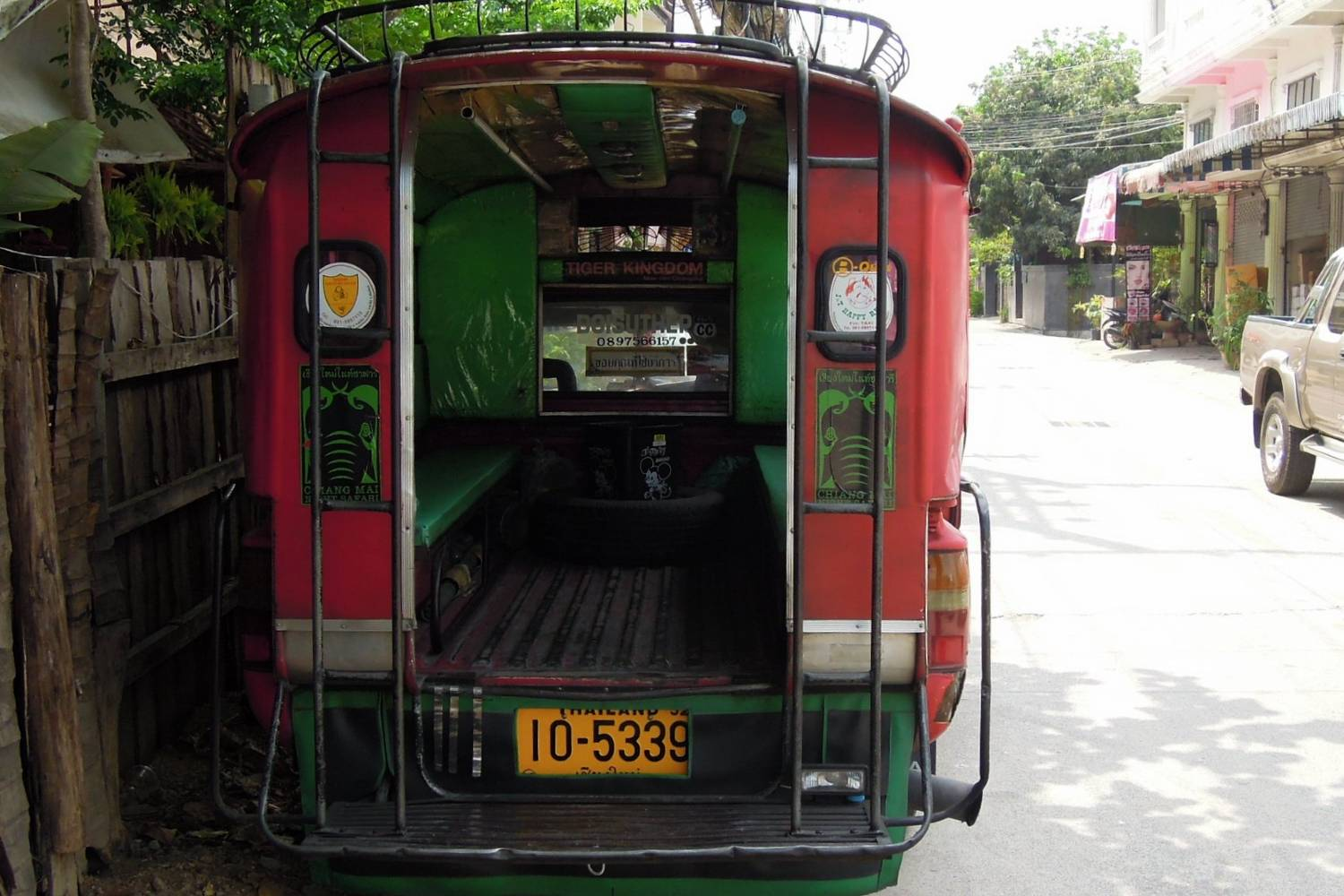 The back of a red songthaew in Chiang Mai