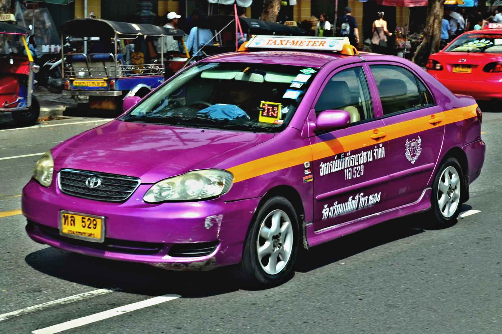 Purple taxi in Bangkok