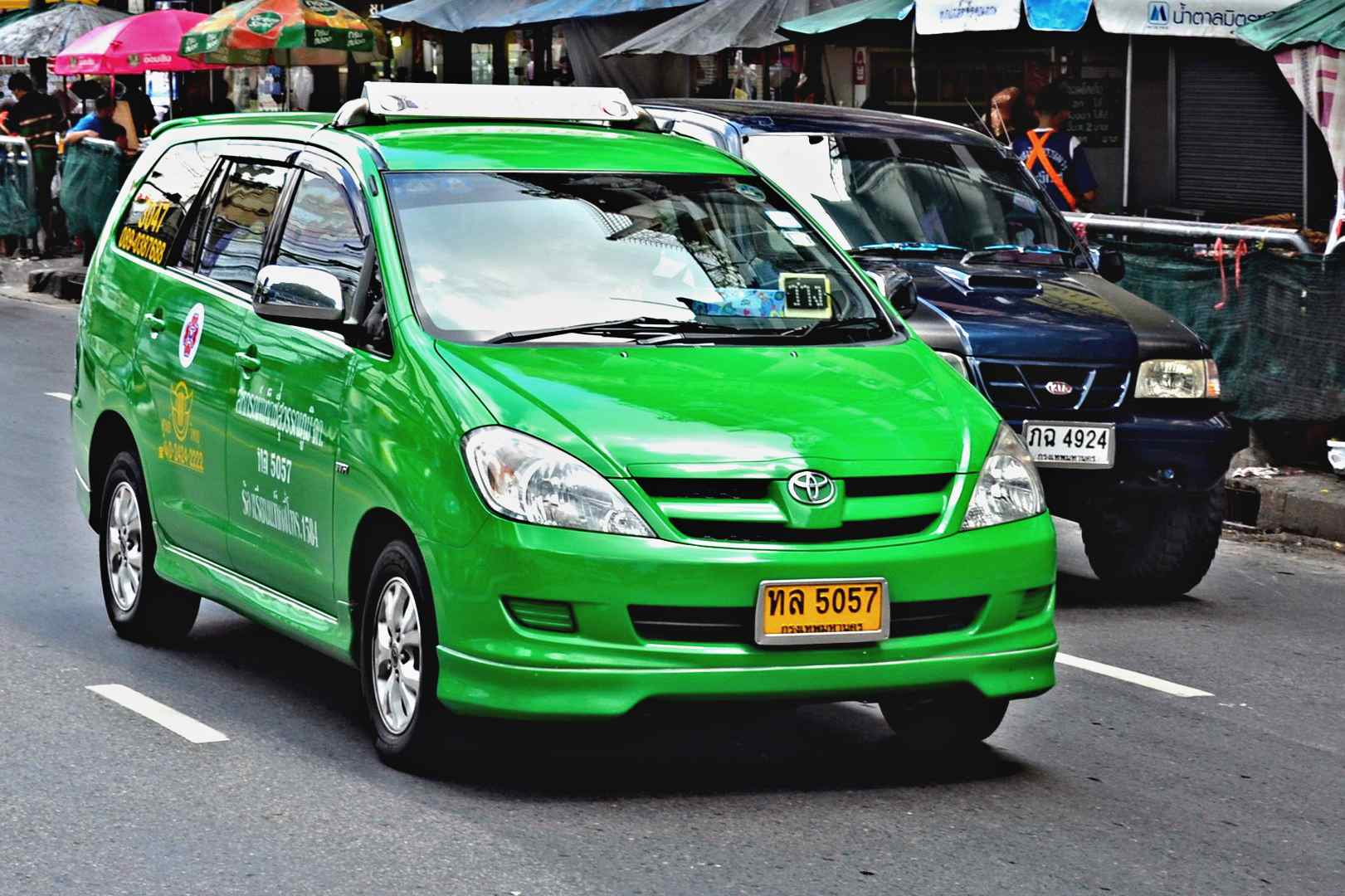Green taxi van in Bangkok