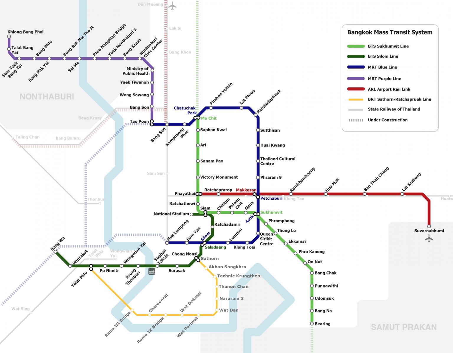 BTS Sky Train, Route kaart Bangkok Silom en Sukhumvit lijn