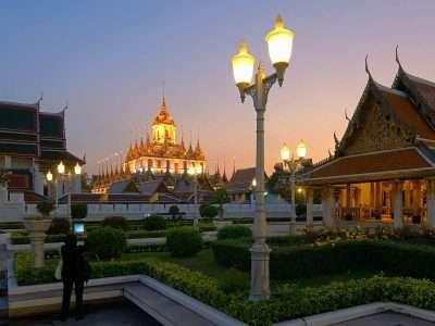 The Loha Prasat While Sun Sets Over Bangkok