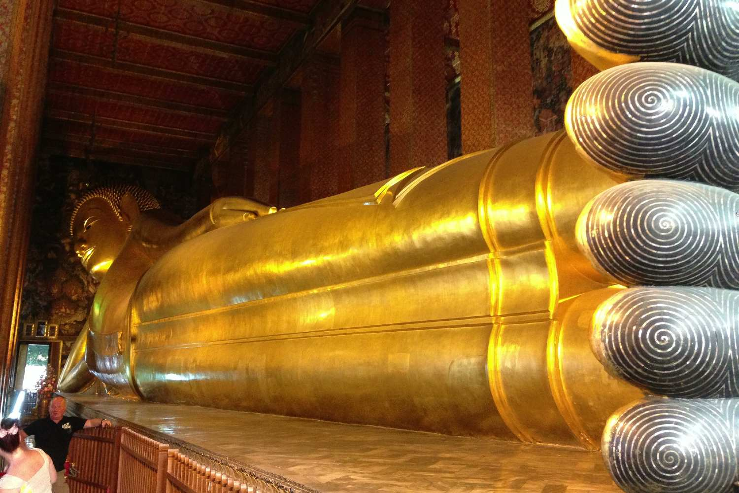 The giant Reclining Buddha at the Wat Pho temple in Bangkok