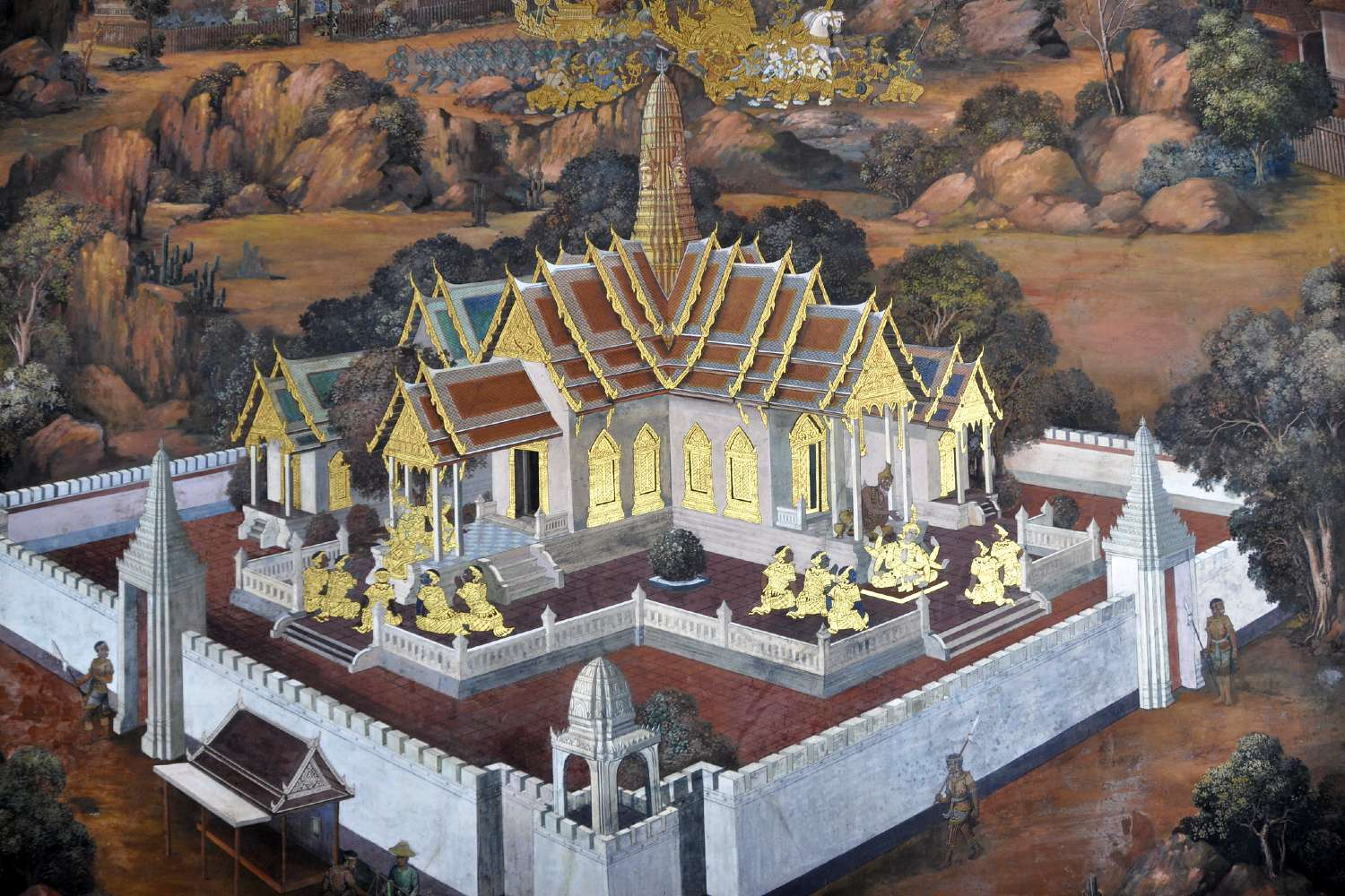 Wat Phra Kaew mural on the Grand Palace grounds in Bangkok