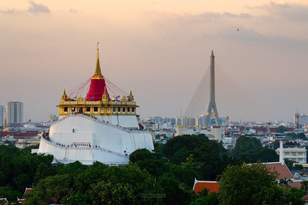 Wat Saket of de Golden Mountain in Bangkok,Thailand
