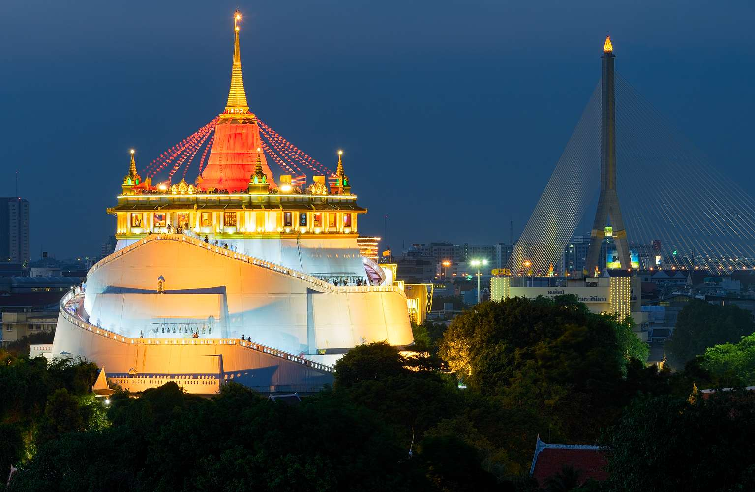 Wat Saket and Rama VIII Bridge
