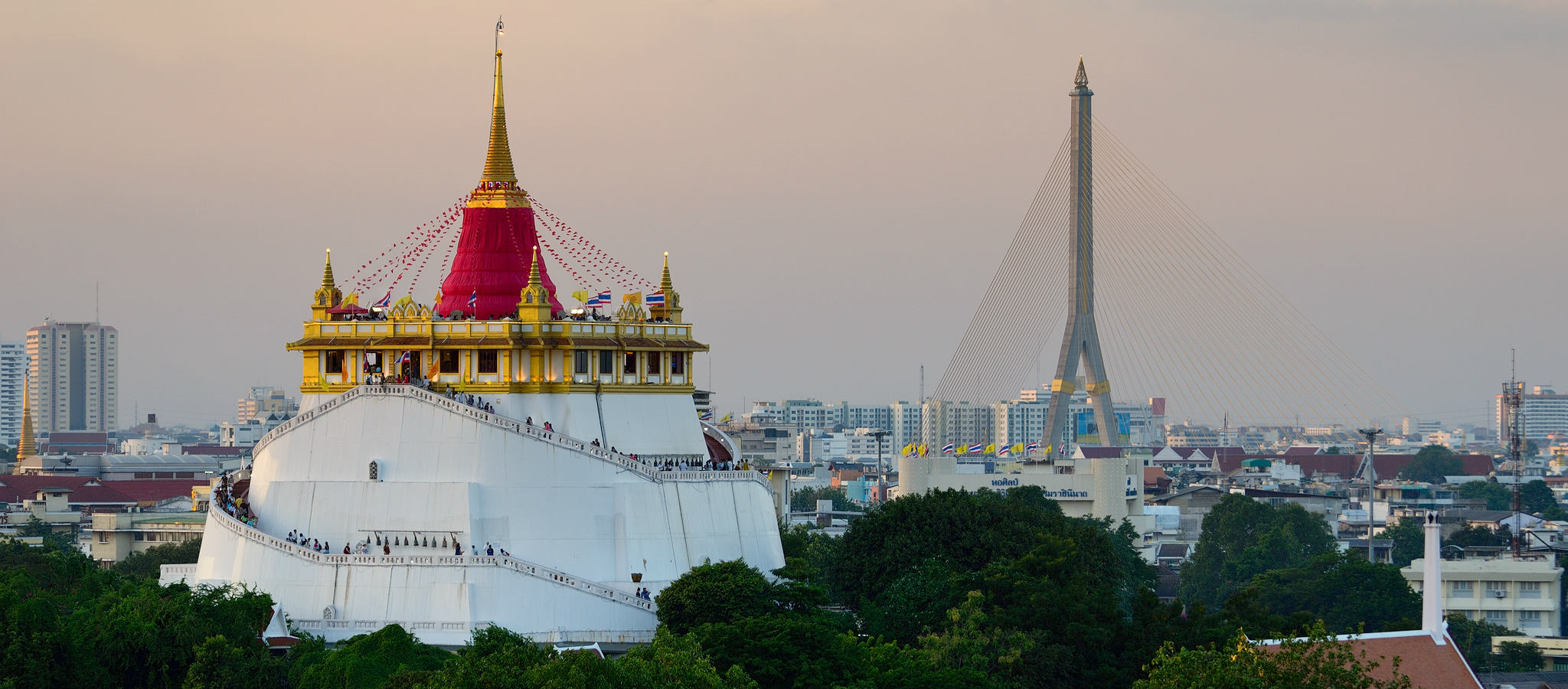 A view at the Wat Saket and Rama VIII Bridge in Bangkok