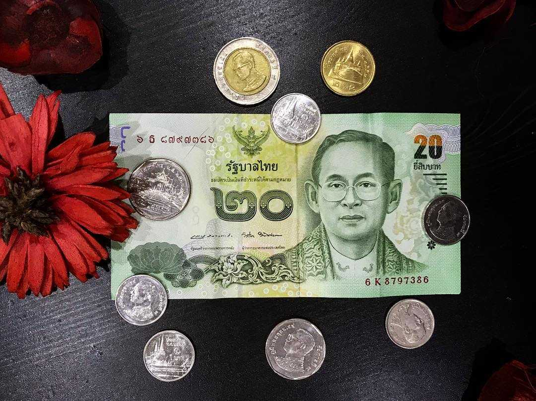 Thai coins and 20 baht as change for a taxi driver