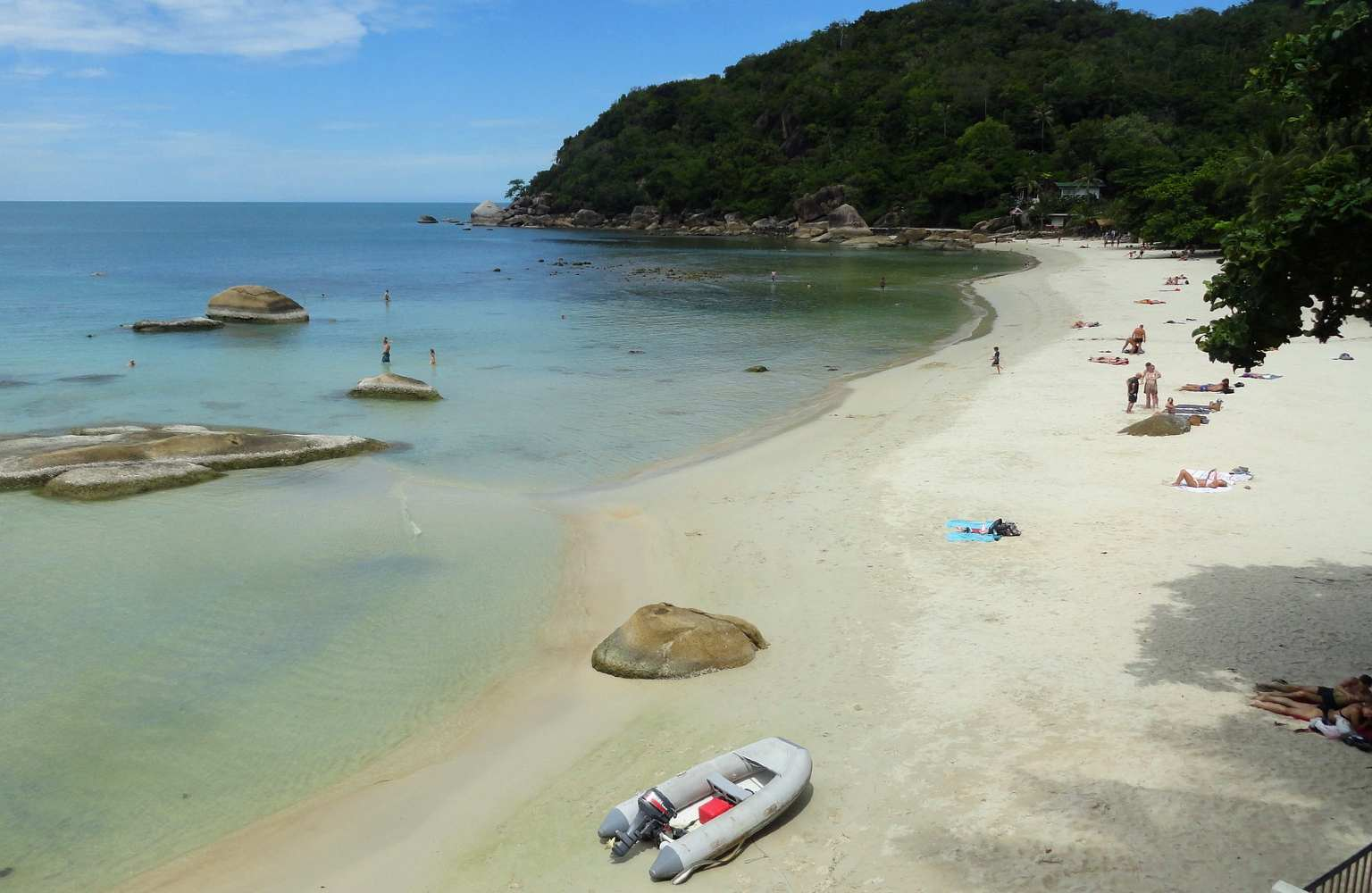Rubber boat and and beautiful beach and sea of Crystal Bay on Koh Samui