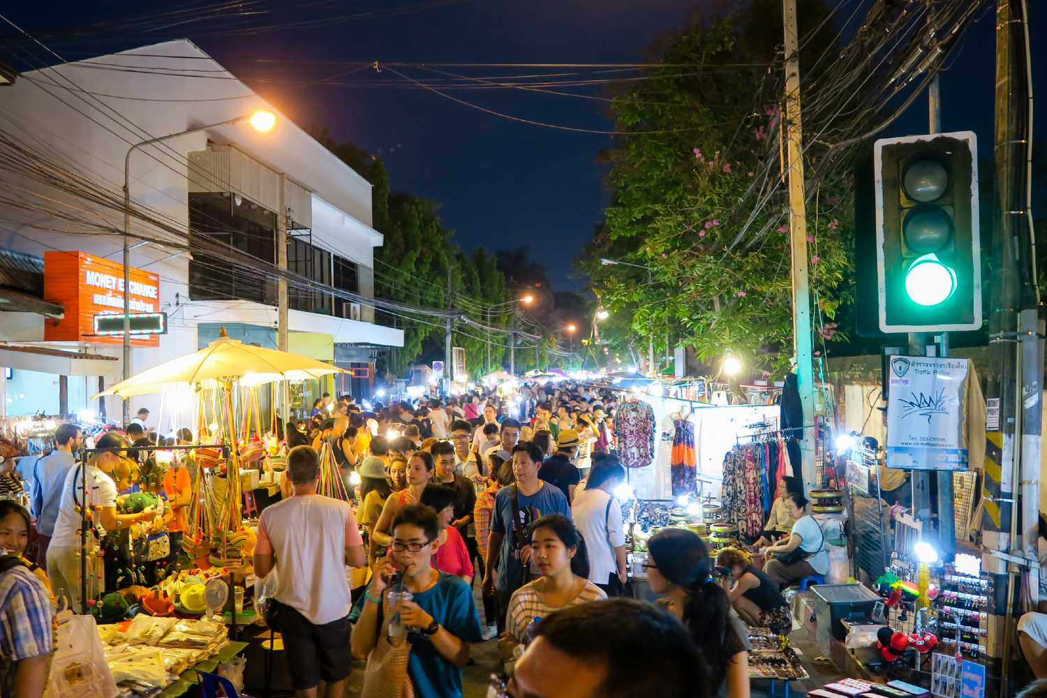 Very busy at the Sunday Night Market in Chiang Mai