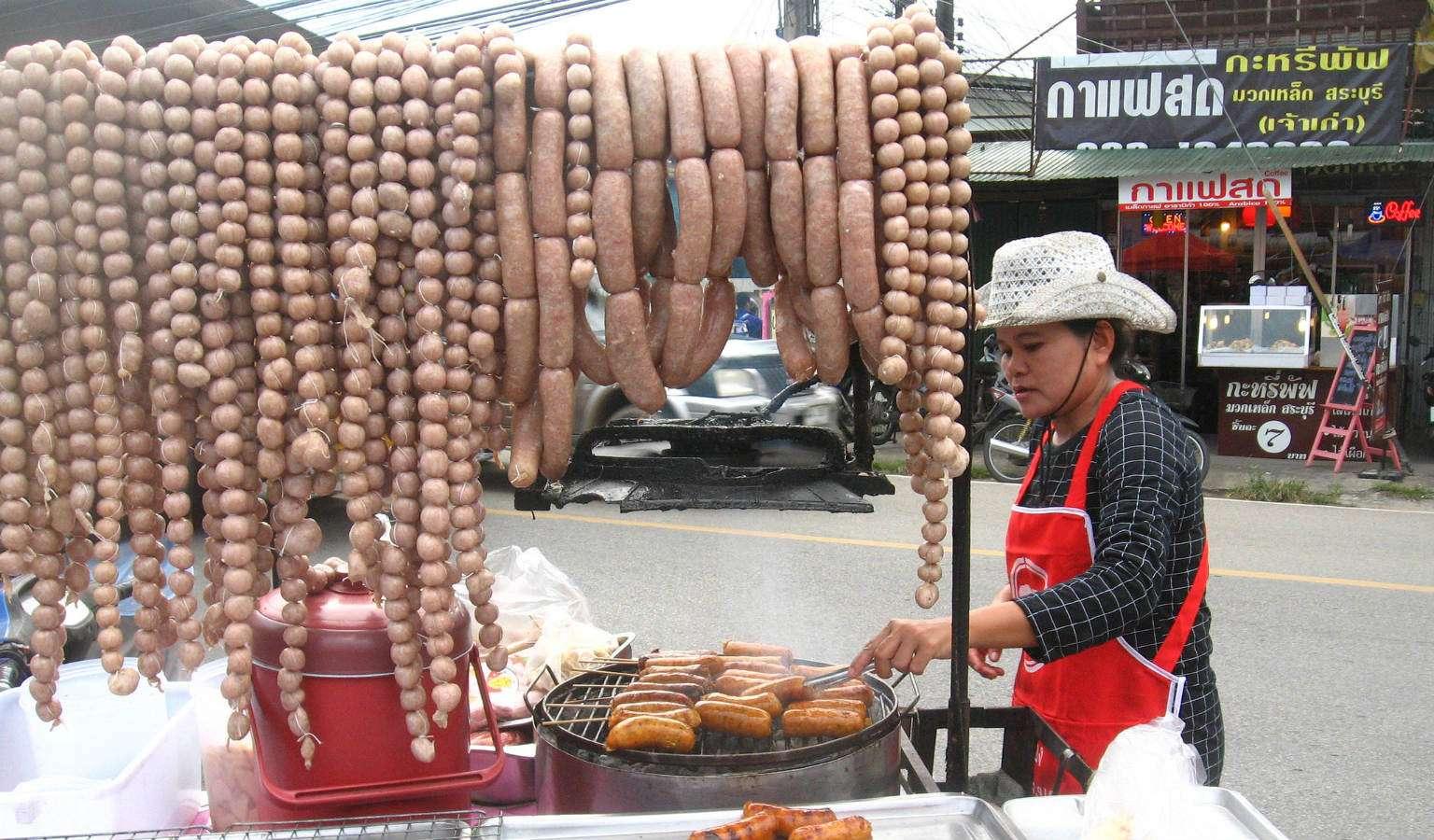 Sai Ua typsische worst uit Chiang Mai (Noord Thailand)