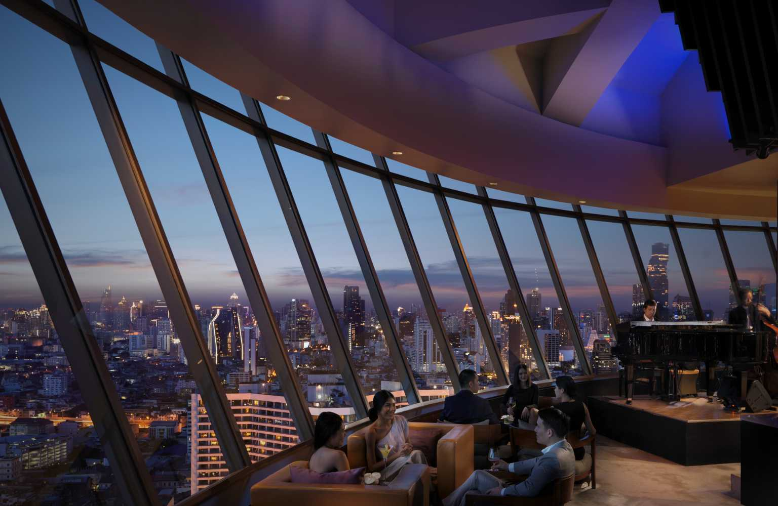 Inside area of the ThreeSixty Jazz Lounge with stunning views over Bangkok