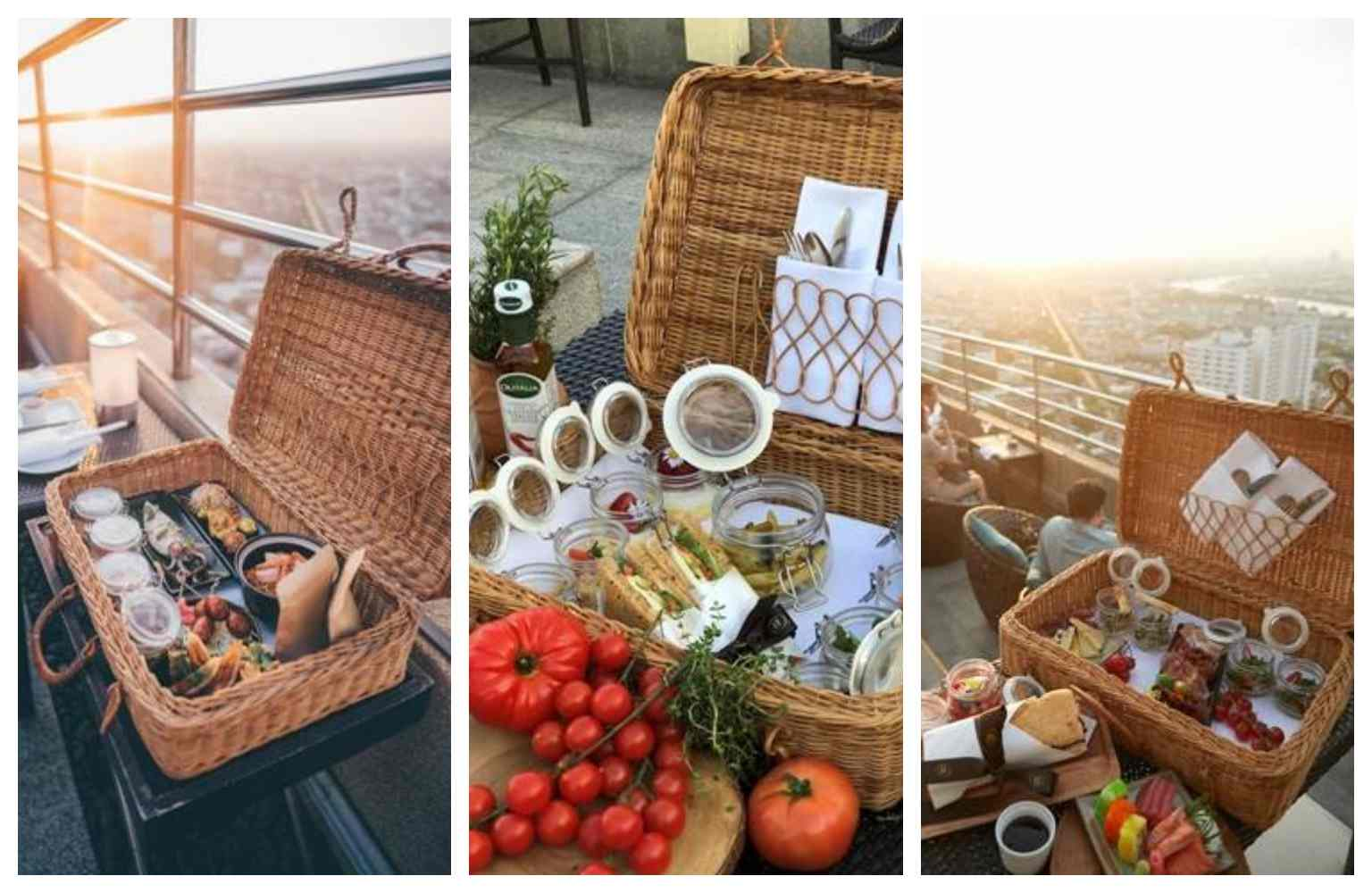 The three different picnic baskets of the Three Sixty Lounge in Bangkok