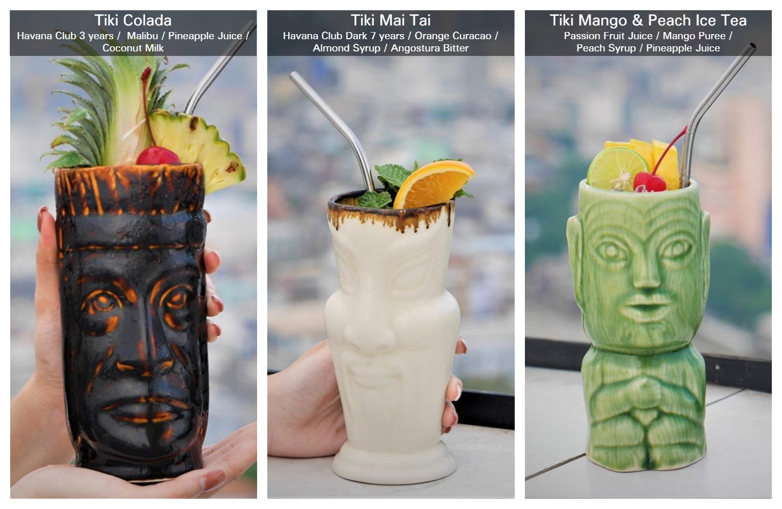 Tiki Drinks at Three Sixty Rooftop Bar