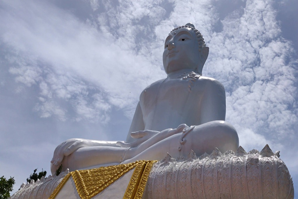 White Buddha on the Temple on the Hill in Pai