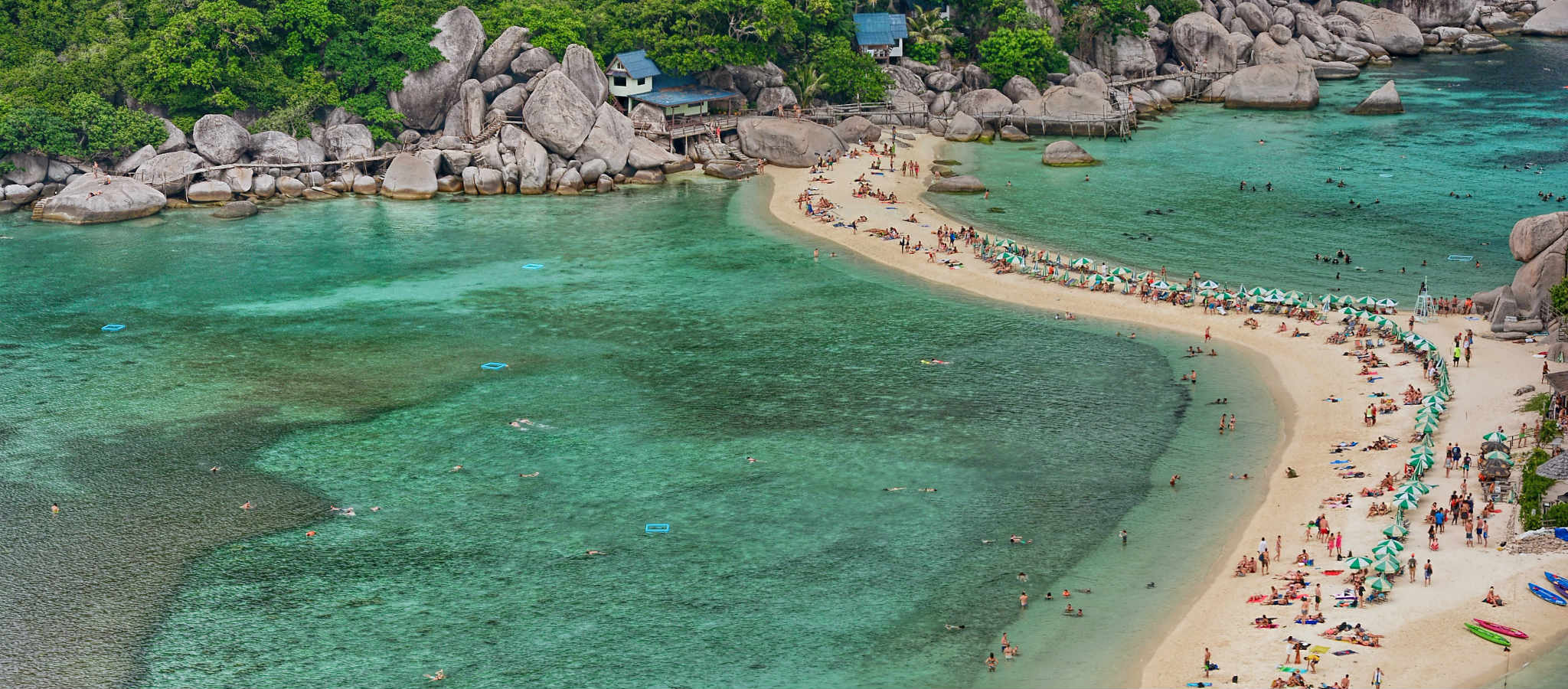 Beach and islands from the top of Koh Nang Yuan in Koh Tao, Thailand