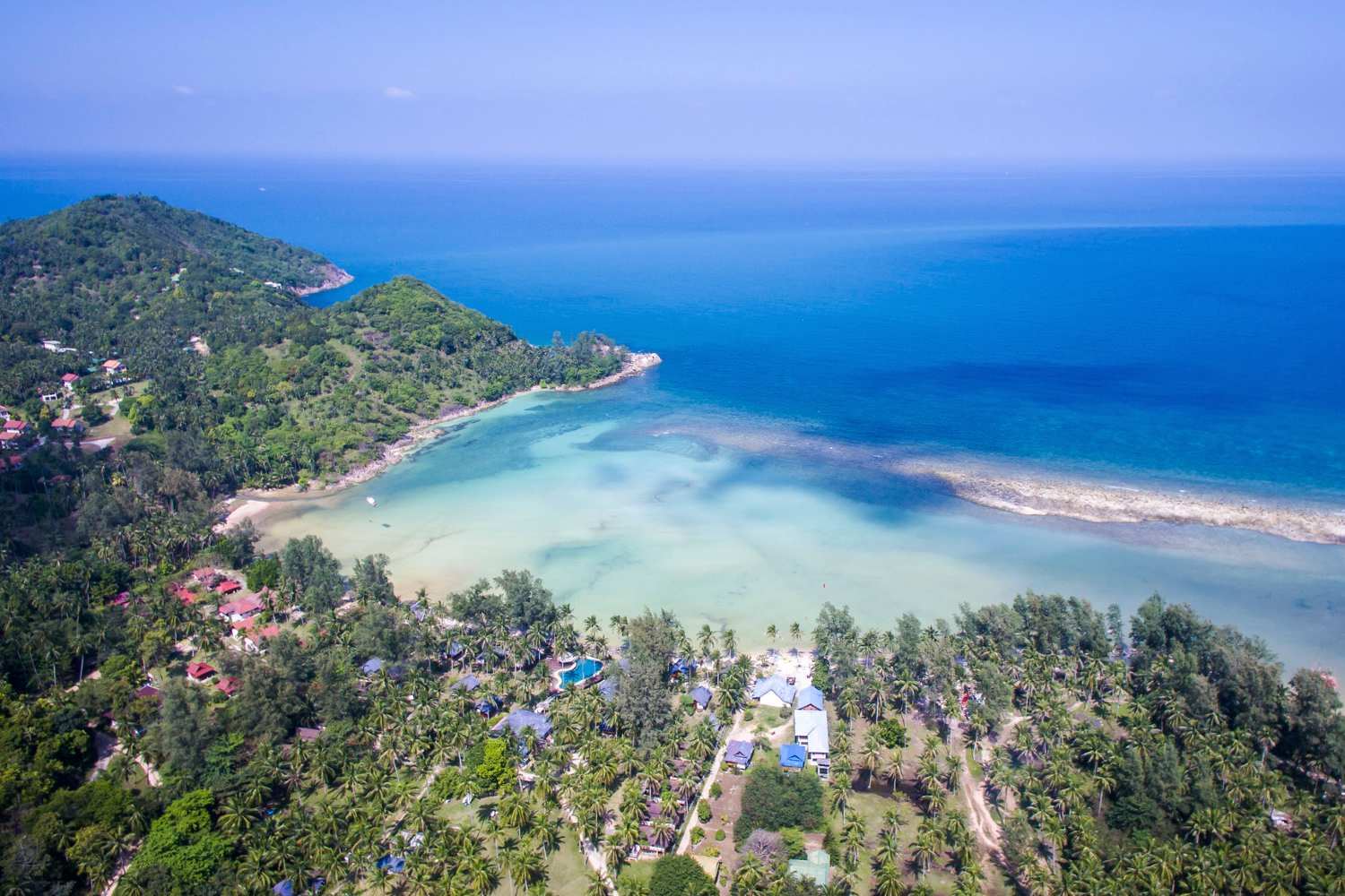 Aireal view over Mailbu Beach on Koh Phangan