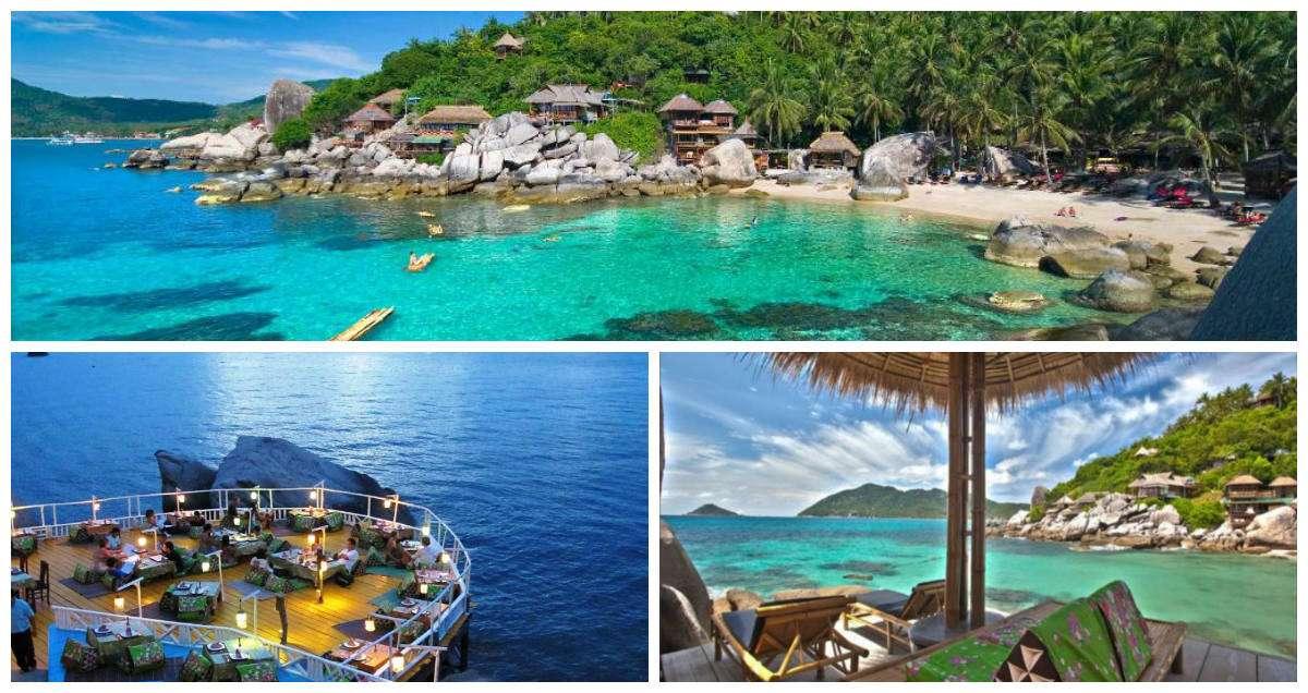 hotel, restaurant, terras aan de baai van Jansom Bay