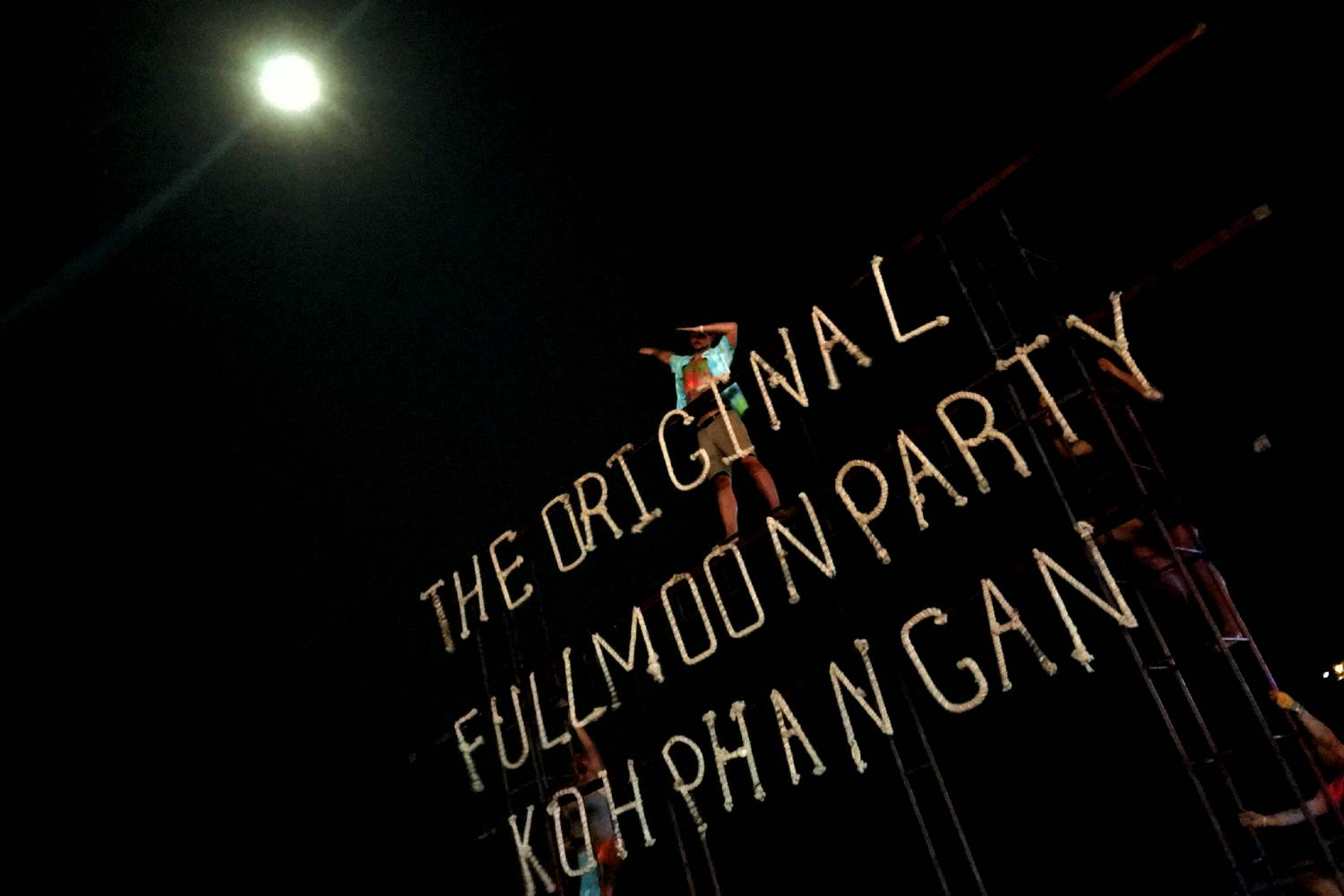 Letters with The Original Full Moon Party Koh Phangan lit later during the party