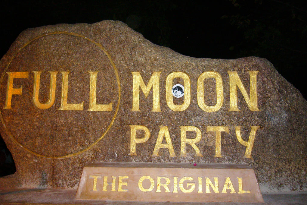 Full Moon Party sign in Koh Phangan, Thailand