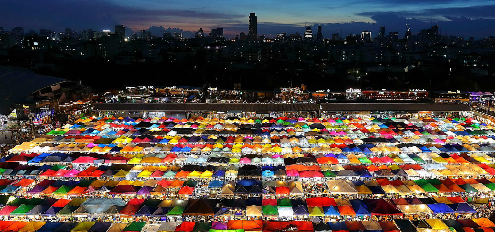 top view of the colourful market stalls the Rod Fai Market in Bangkok