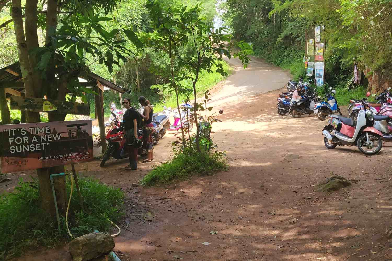 Parking place of the Pam Bok Waterfall in Pai, Thailand