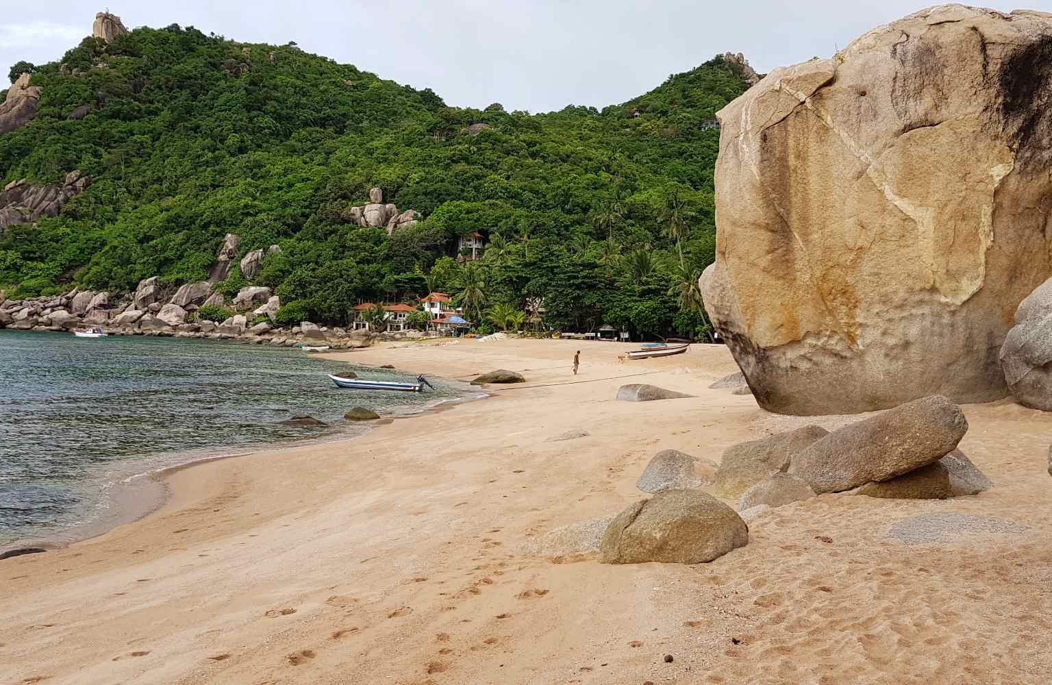 A huge rock on the beach of Tanote in Koh Tao