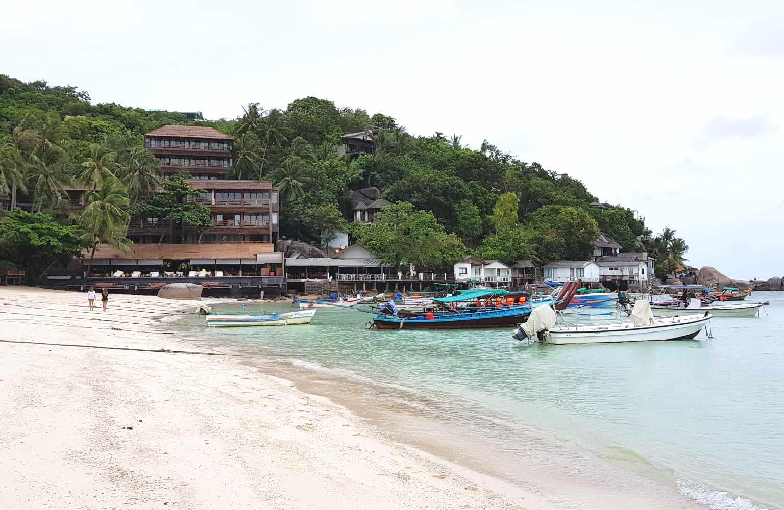 The beach of Shark Bay (Thian Og Bay) on Koh Tao with all resorts