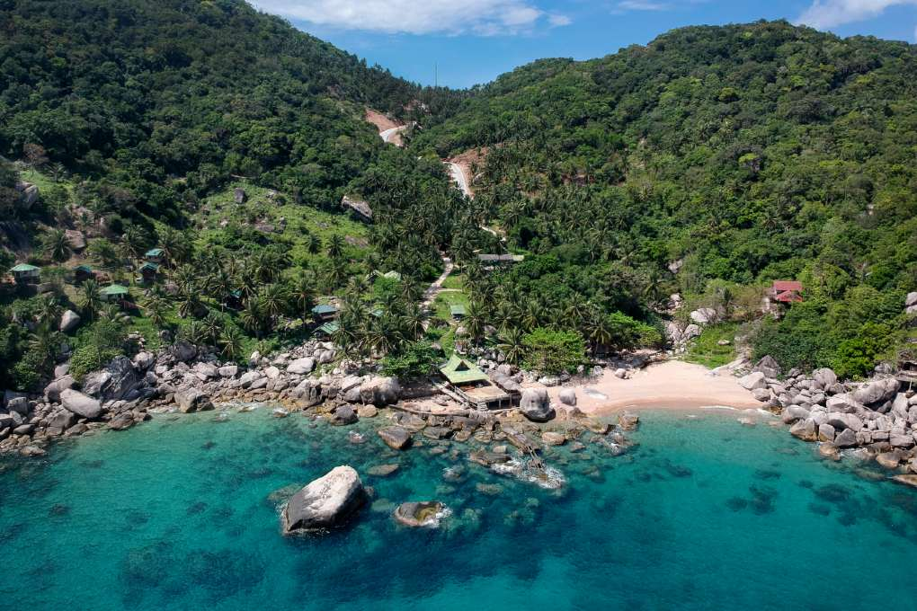 Hin Wong Bay on Koh Tao seen from the air with a drone