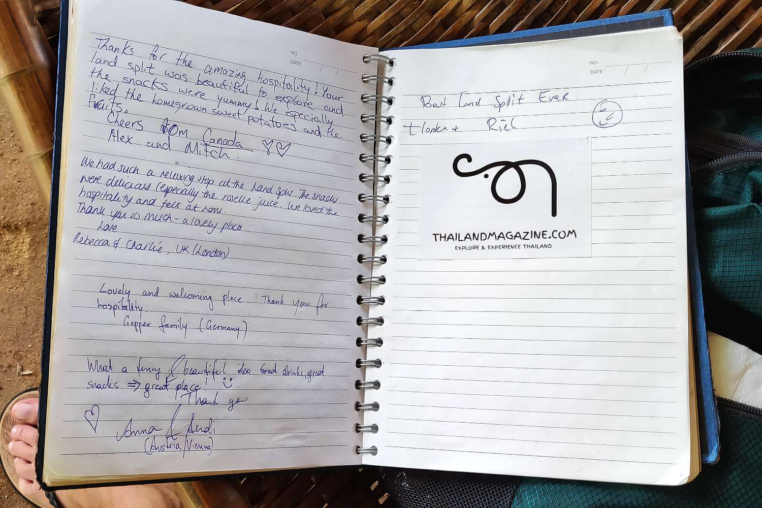 The guestbook of the Pai Land Split in Thailand