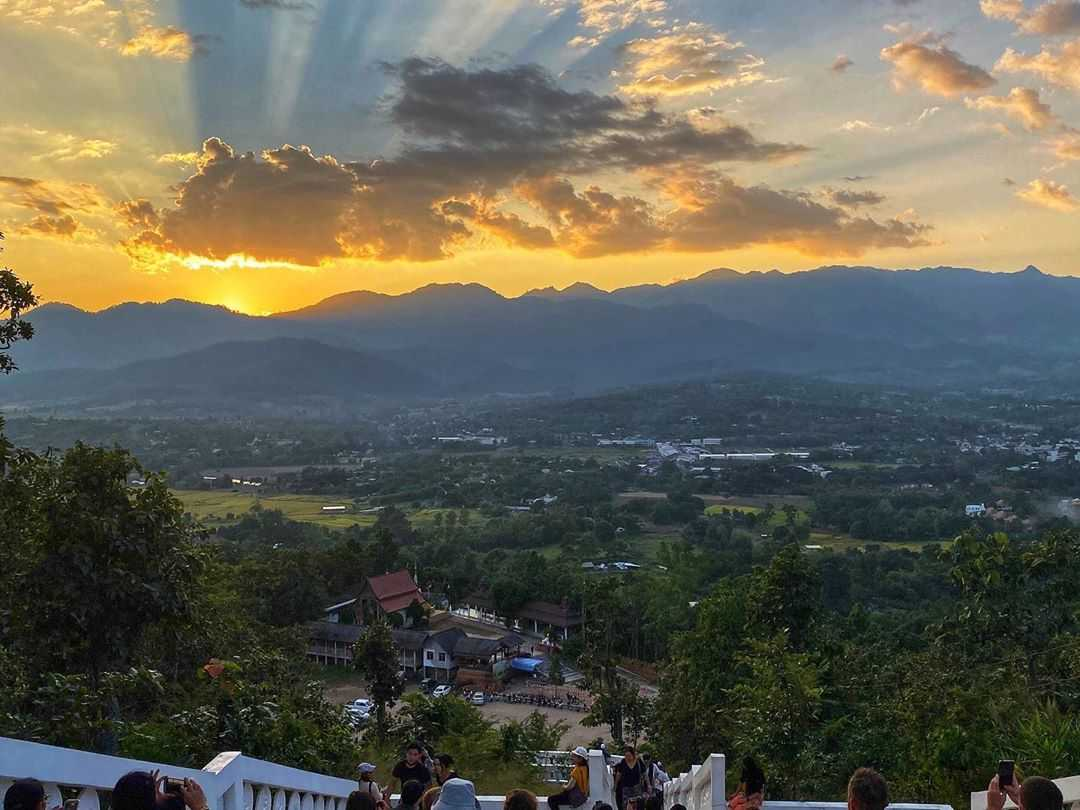 Sunset seen from the platform of the White Buddha at the Temple on the Hill in Pai