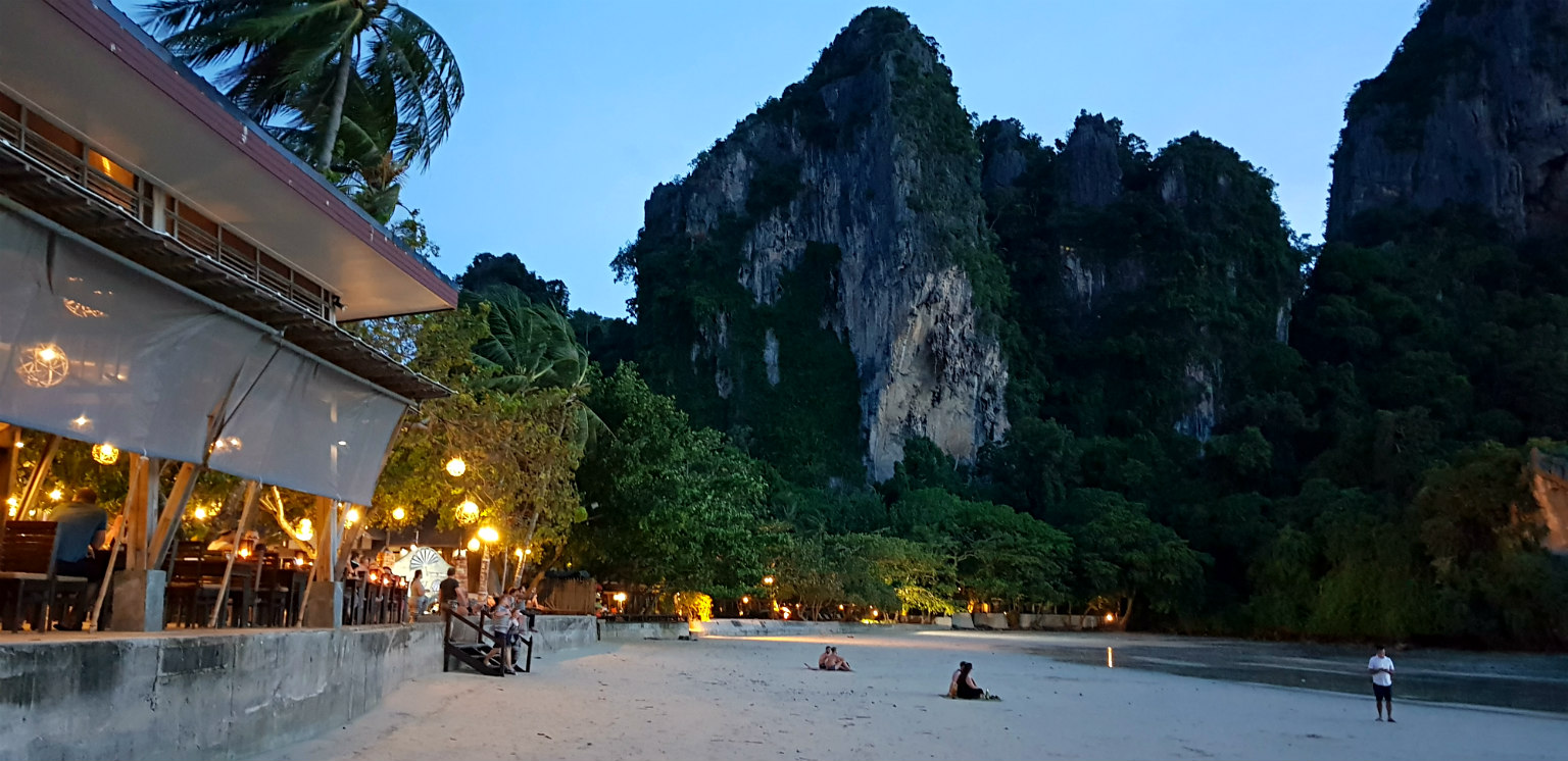 Twilight with lights on Railay West Beach