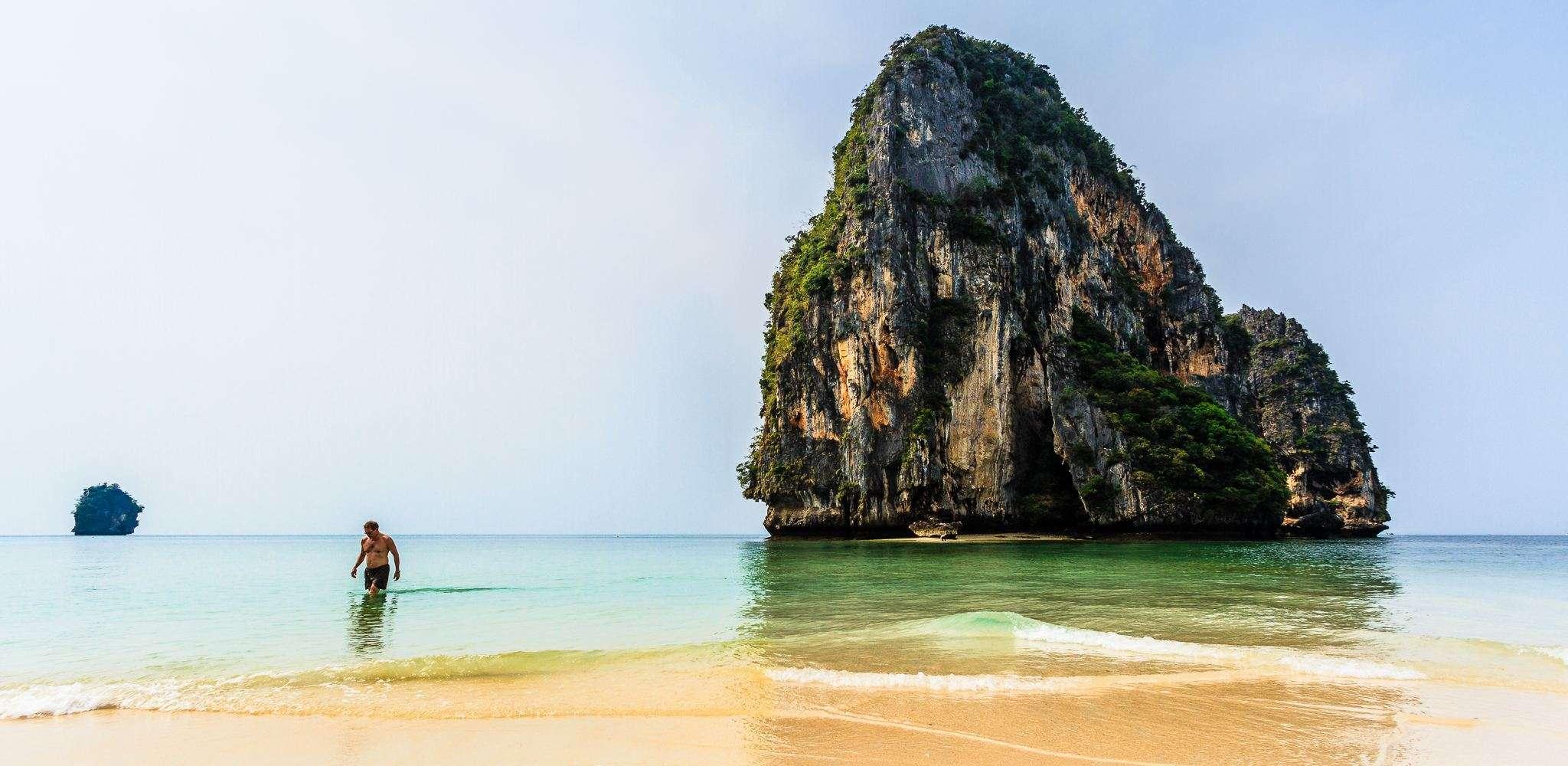 De amazingly rock and landmark on Phra Nang Beach in Railay