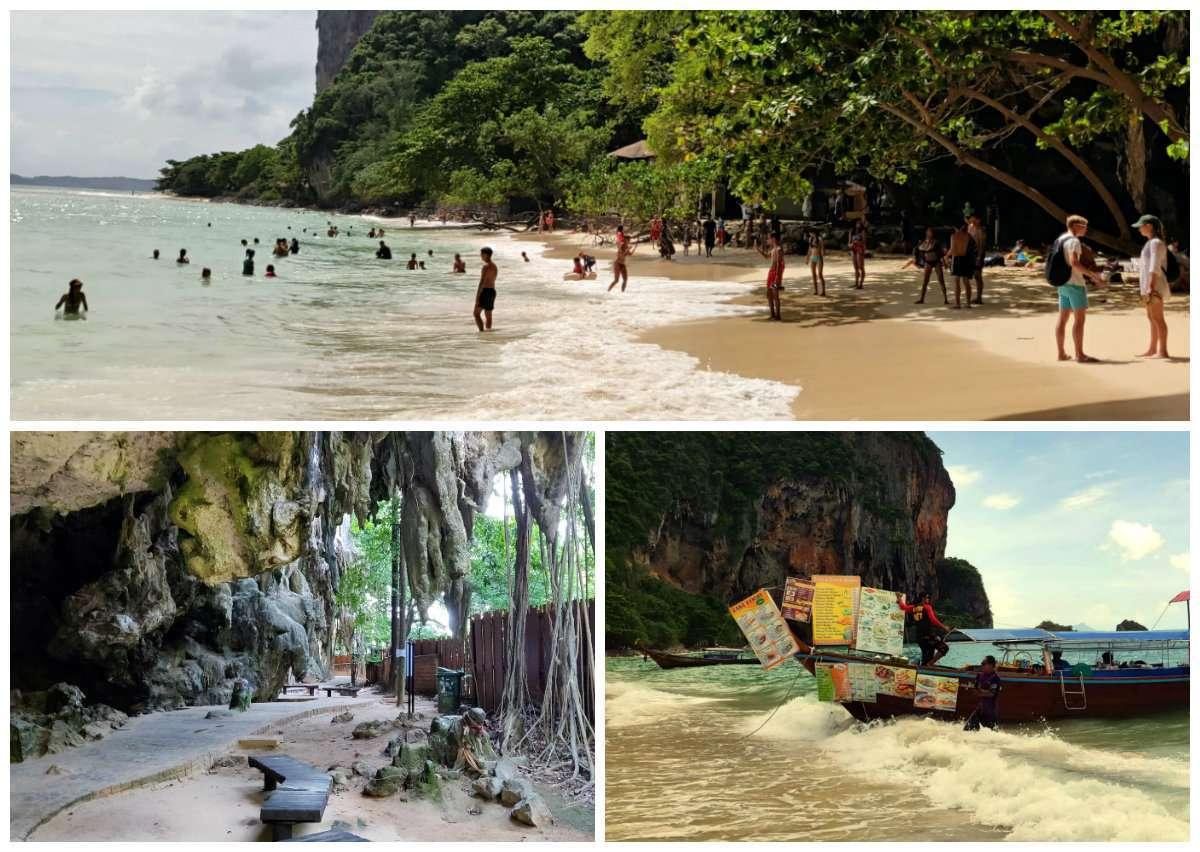 Fotocollage van Ao Phra Nang Beach met 3 foto's van het strand, het looppad en een longtail boot in de zee