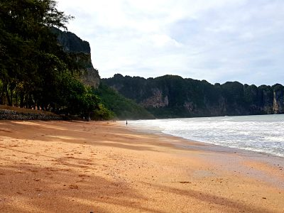 Ao Nang Beach Beach With Limestone Cliffs In The Background