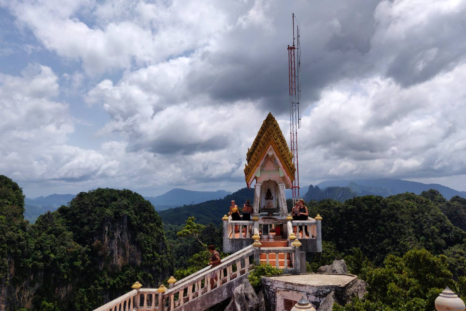 Temple at the top of the Tiger Cave overlooking karst mountains of Krabi
