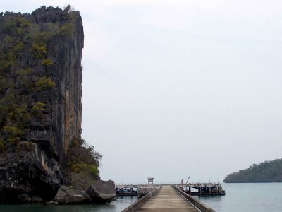 The Striking Cleft Rock At The Koh Tarutao Pier In Southern Thailand