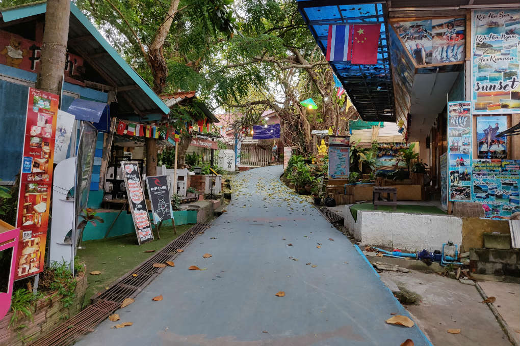 The Walking Street in Koh Lipe, Thailand with all its shops and restaurants on both sides (centre of the island of Koh Lipe).