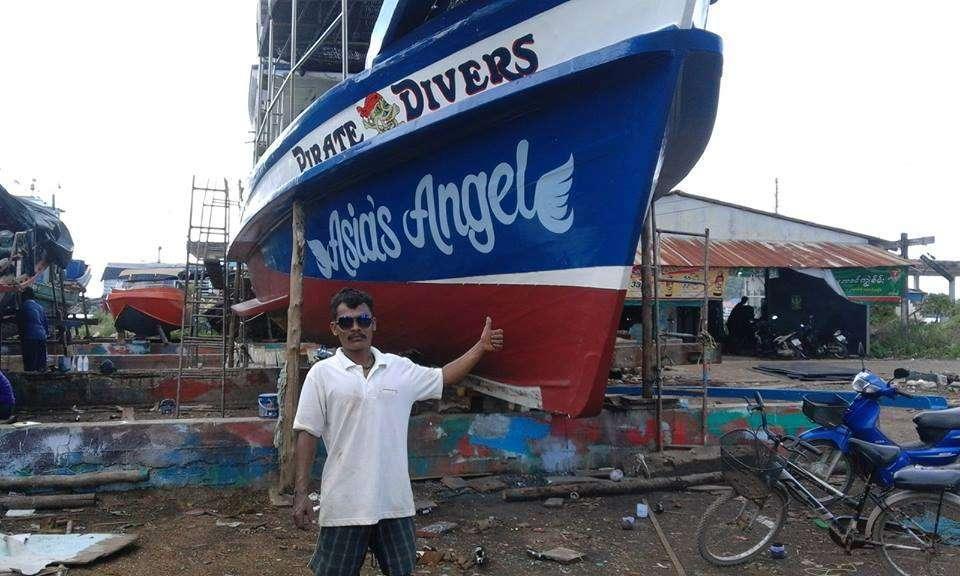 Pirate Divers boot op Haad Salad, op het eiland Koh Phangan in Thailand