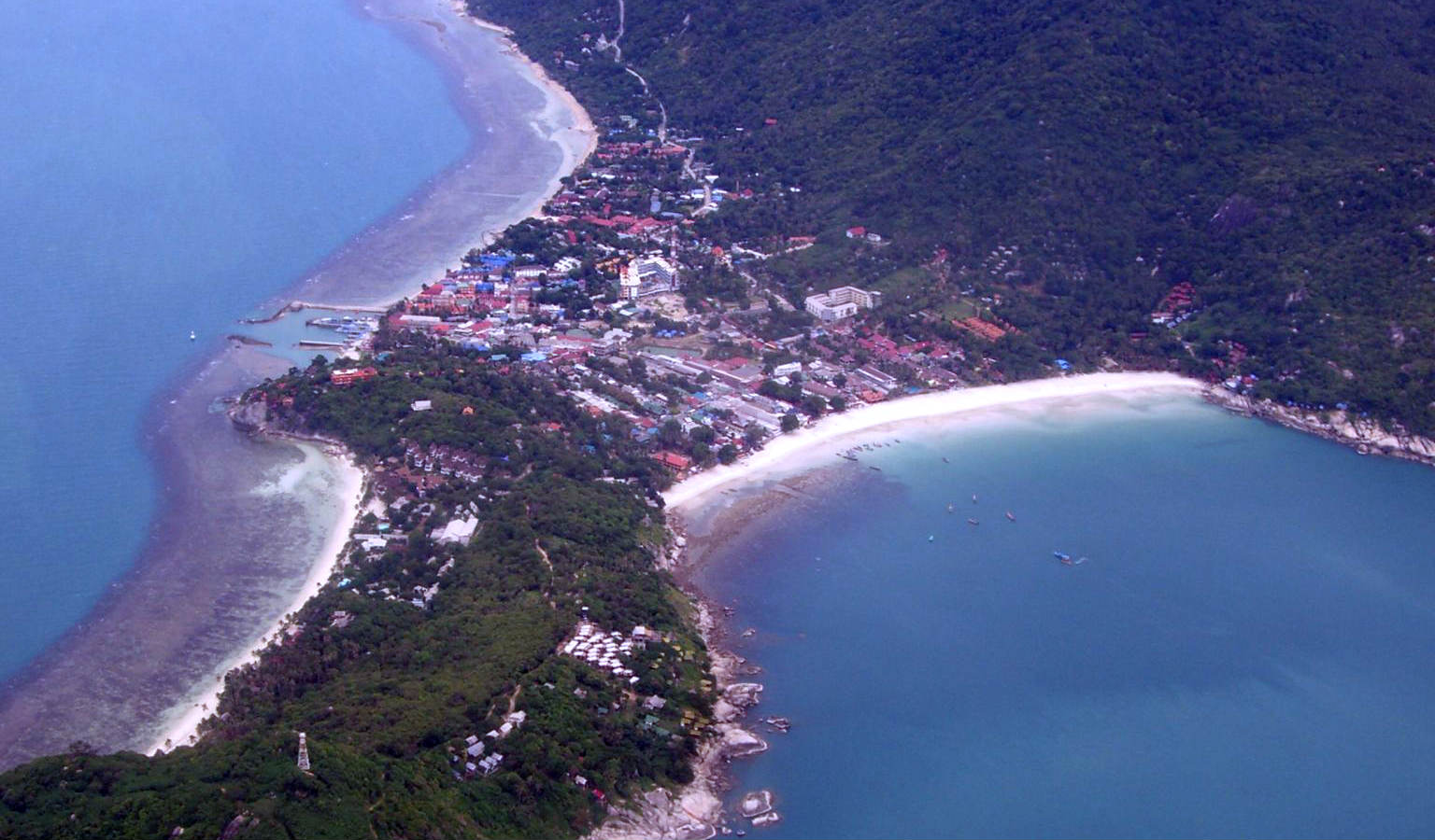 Haad Rin in Koh Phangan, Thailand from the air