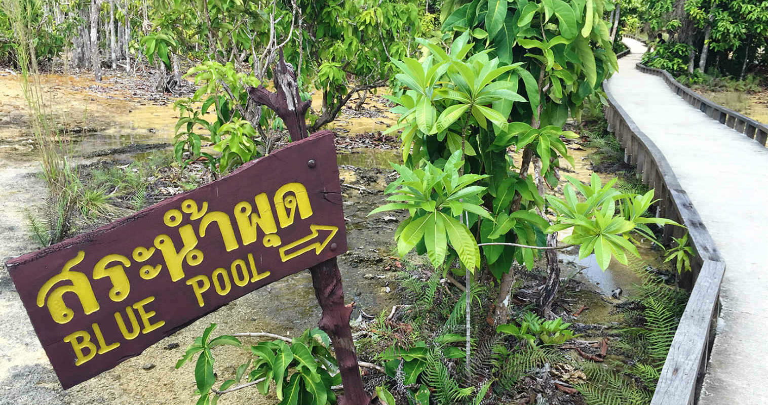 Verhoogd pad met houten wegwijzer naar Bleu Pool, Krabi